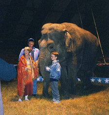 Gary, Julie and Dan with Elephant